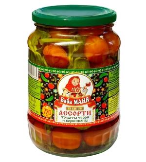 Ассорти. Маринованные томаты черри и огурцы корнишоны 720 мл
