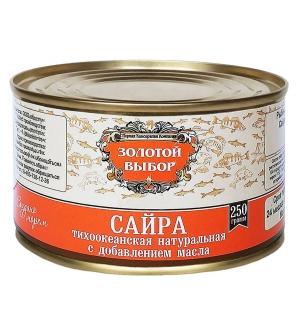 Сайра тихоокеанская натуральная с добавлением масла 250 г